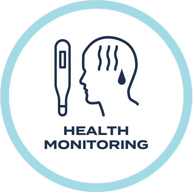 Please monitor your symptoms and check your temperature! If you are running a fever or have symptoms of illness, please stay home.