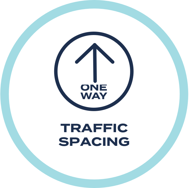 Please follow the directional arrows in our one-way system, to help us keep foot traffic orderly and spaced appropriately.